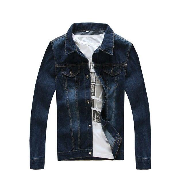 Fashion Designer Denim Jackets Men Long Sleeves Solid Jeans Jacket