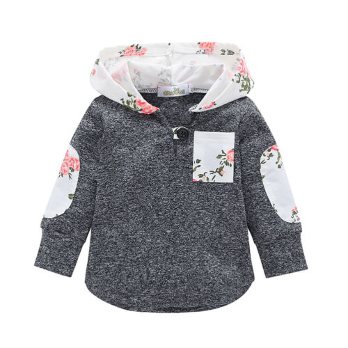 Autumn Baby Kids Girls Long Sleeve Hooded Tops T-shirts Blouse Pullovers