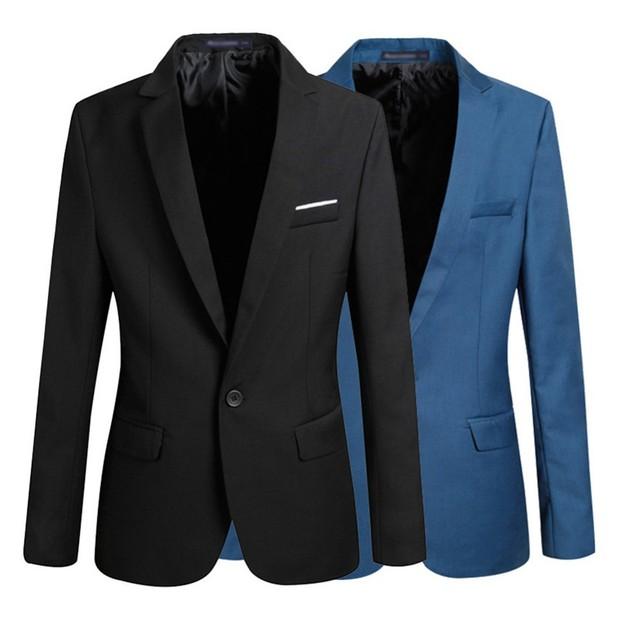 Nueva llegada chaqueta de hombre uno chaquetas botón Men ' s Casual Blazers Solid delgado trabajo otoño prendas de vestir exteriores C8054