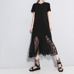 Image 2 - [EAM] vestido de primavera verano con cuello redondo, manga corta, encaje negro, temperamento largo, moda, JU177, 2020