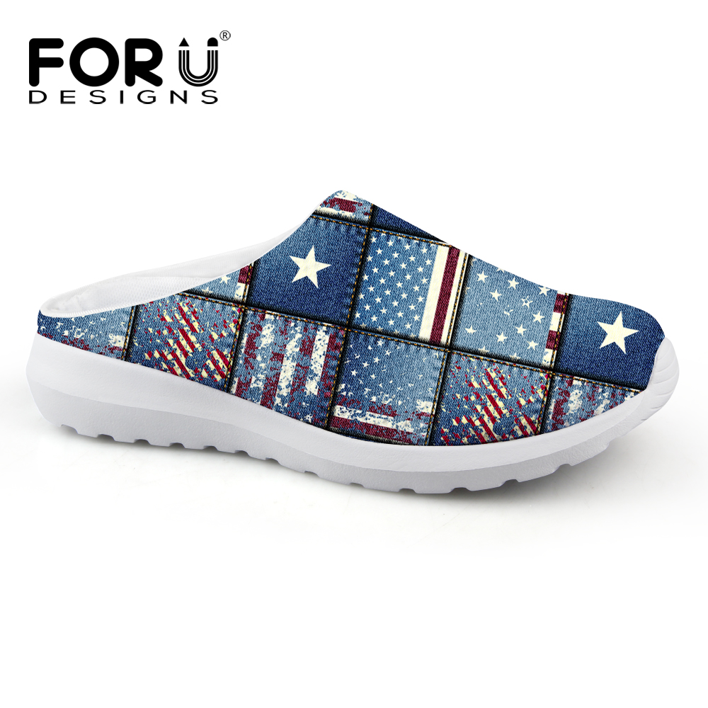Sandals shoes usa - Casual Beach Sandals Summer Mesh Flat Shoes Breathable Uk Usa Flag Sandals Lighted Shoes Outdoor Slip