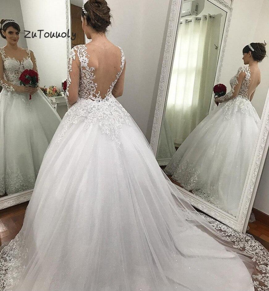 Indian Wedding Long Gowns: Arabic Wedding Dresses Princess Long Sleeve Wedding