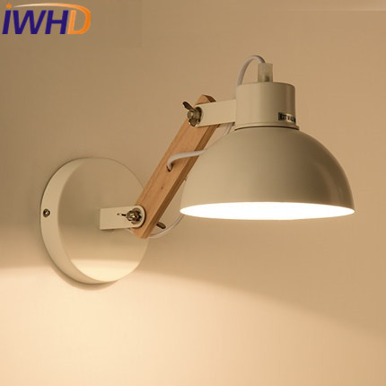 IWHD Wood Arm Sconce LED Wall Light Up Down Modern Iron Wall Lamp Angle Adjustable Light Fixtures Home Lighting Arandela modern fashion modern wall sconces iron wooden led wall light fixtures wood aisle home indoor lighting bedside wall lamp