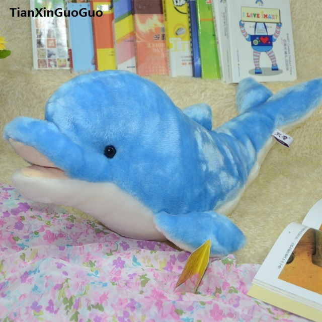 Large 60cm Cartoon Dolphin Plush Toy Lovely Blue Dolphin Soft Doll