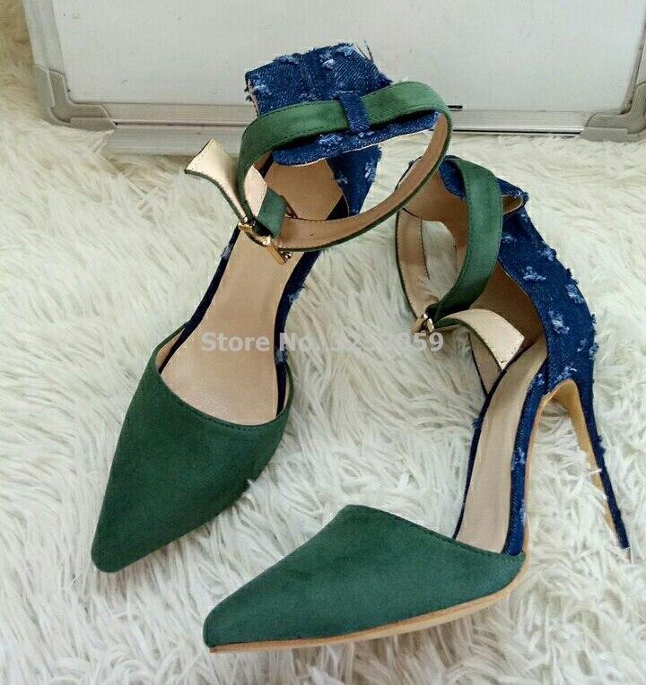 Vestido Punta Gladiador Más Talón Azul Tamaño Chic Concisa As Zapatos Estrecha Mujeres Aguja Patchwork Ejército Denim Bombas Picture Verde gS8wOfq