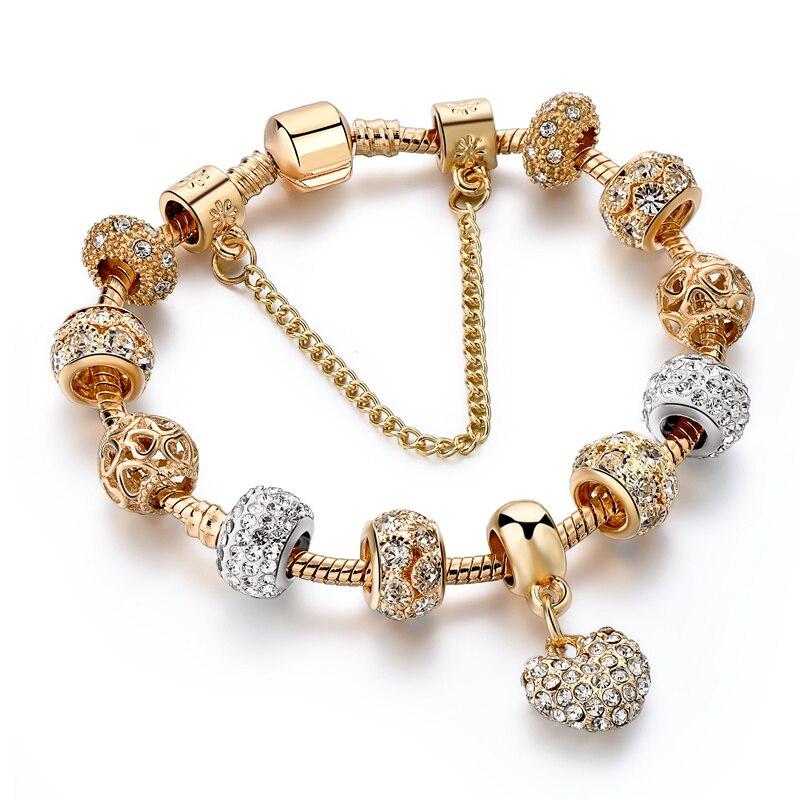 Hadiah! Mewah Crystal Heart Charm Gelang & Gelang Emas Gelang Untuk Perhiasan Wanita Pulseira Feminina Sbr170020