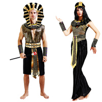 New Wonderful Men Women Egyptian Pharaoh Costume Gold Outfit Helios Royal King Cleopatra Accessories Halloween Carnival