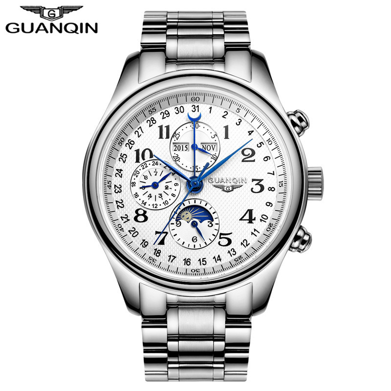 Men Luxury Brand GUANQIN Automatic Mechanical Watch Calendar business Leather Wristwatch male multifunction Casual clock hours new arrival ultrathin quartz watch luxury brand guanqin waterproof watch male casual clock hours men leather business wristwatch
