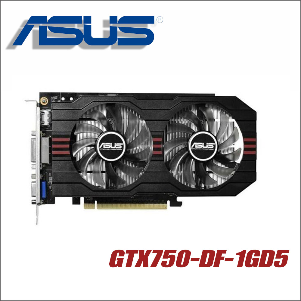 ASUS Graphics Card GTX750-DF-1GD5 GTX 750 1GB 128Bit GDDR5 Video Cards for nVIDIA Geforce GTX750 Hdmi Dvi Used VGA материнская плата asus h81m r c si h81 socket 1150 2xddr3 2xsata3 1xpci e16x 2xusb3 0 d sub dvi vga glan matx
