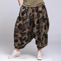 Hip Hop Drop Crotch Camouflage Loose Women Pants 2017 New Style Casual High Waist Ankle Length