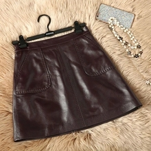 New Sheepskin Leather Skirt Women High Waist