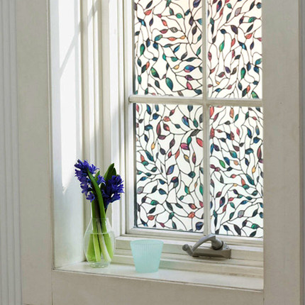 3D Colored leaves 0.45x1m static cling opaque self-adhesive glass film Bathroom <font><b>Sliding</b></font> door Frosted Decorative window film