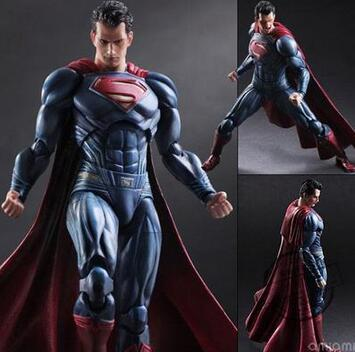 High Quality 27cm Superman Action Figure Play Arts PA Kai Dawn of Justice Batman v Superman PVC Toys 25cm 092 xinduplan dc comics play arts kai justice league batman reloading dawn justice action figure toys 25cm collection model 0637