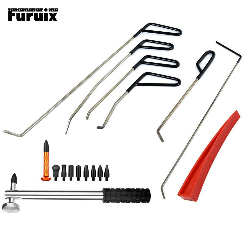 Automotive Paintless Dent Repair Tools Kit Dent Remover PDR Hail Repair Tool Metal Tap Down PDR Rods Hail Damage Repair Kit hail damage repair kit removal of hail dents and door ding professional pdr rod paintless dent remover tools kit b7911c123456