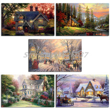 Thomas Kinkade Memories Of Christmas Painting Wall Art Posters Oil Canvas and Prints Picture for Living Room Artwork Home Decor