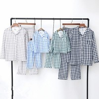 2018 Cotton Family Matching Outfits Casual Plaid Home Wear Father Mother Kids Sleepwear Soft Clothing Pants Set Family Pajamas