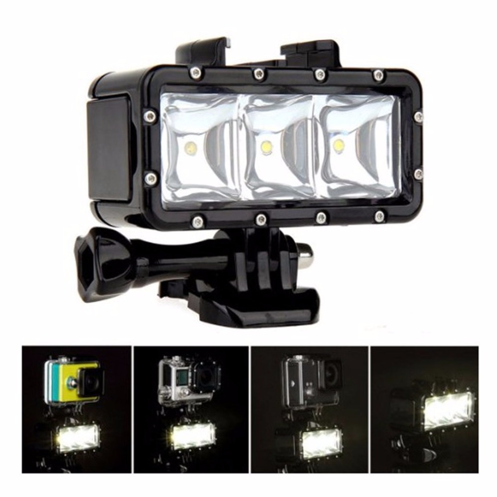 Flash Light Lamp Underwater Diving Waterproof 40m LED Flash Video Light Mount For GoPro SJCAM SJ4000 H9 H9R for Xiaomi Yi Camera mcoplus le 160y 25m 82ft 5500k 2000lm diving underwater waterproof video led light for digital camera gopro hero camera