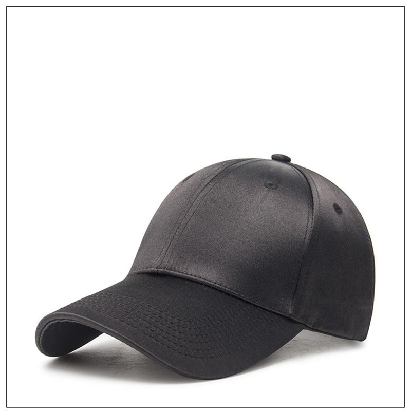 Men Women Baseball Caps Hats black pink Blue White Satin Hat Causal  Adjustable Adult Unisex Cap f5b5e33857