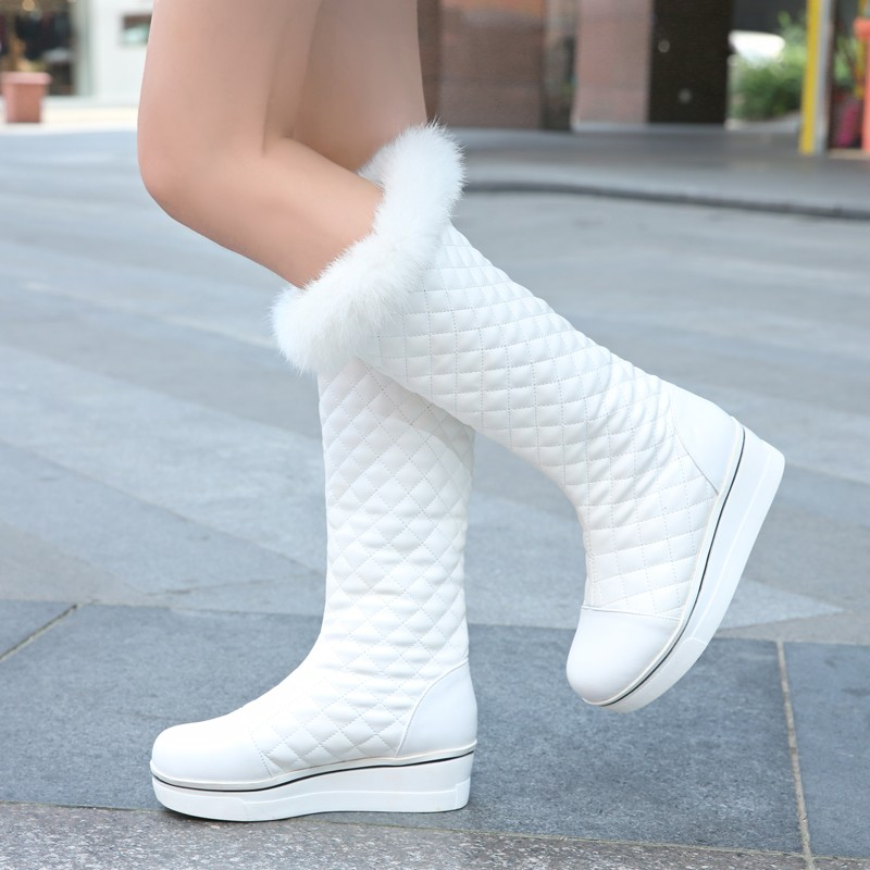 ФОТО 2015 New Style Women Boots Fashion Round Toe Flat With Mid-calf Warm Snow Boots Woman Rabbit Hair Shoes Free Shipping