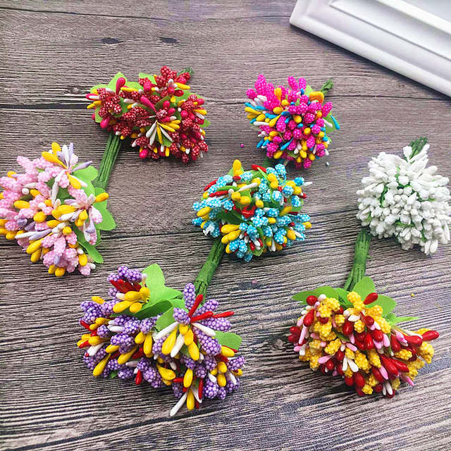 10 PCS (2.5 cm bunga) benang sari buatan mini berries kolase palsu flower 351f6ca12e