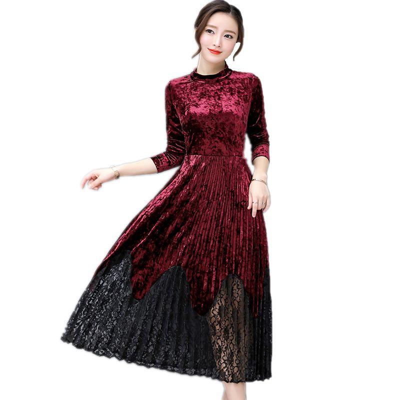 e8c3c160ab39 Fashion Women Autumn winter Dress Lace Stitching Velvet Vintage Long Dress  Pleated long sleeve Dress vestidos