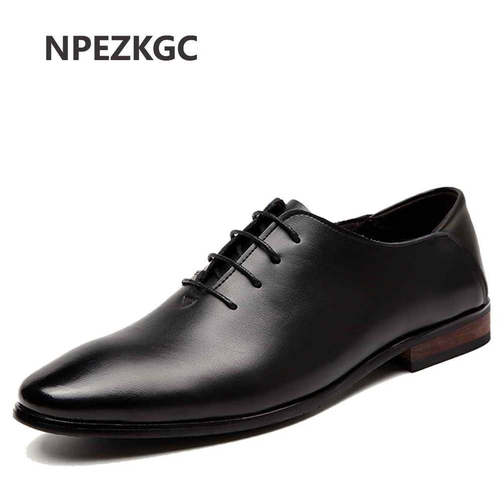 NPEZKGC 2017 Men Flats Fashion High Quality Genuine Leather Shoes Men,Lace-Up Business Men Shoes,Men Dress Shoes, Oxfords shoes