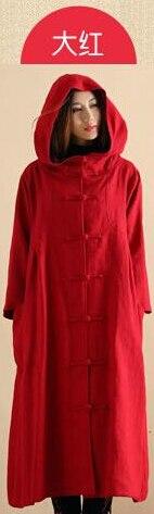 Осенне-зимний Тренч в стиле ретро с капюшоном из хлопка и льна, длинный халат волшебника, плащ-Пыльник, ветровка, Jaqueta Feminina - Цвет: Красный