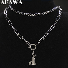 2019 Stainless Steel Punk Necklace Women Silver Color Layered Toothpaste Toothbrush Necklace Chain Jewelry gargantilla N19173 vintage pure color layered link chain women s boot jewelry