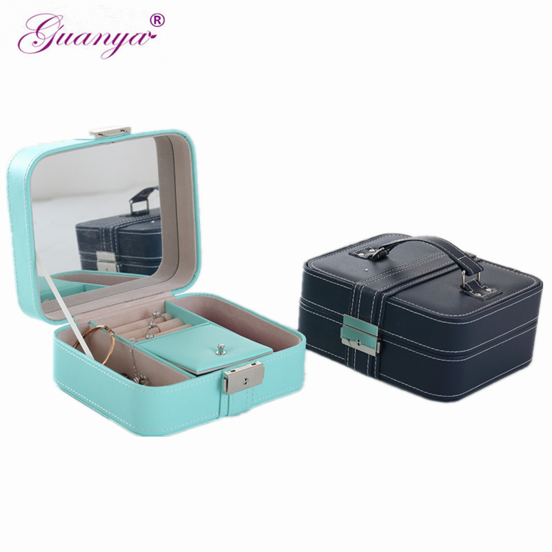 Guanya Brand Portable Jewelry Box Necklace Earring Ring Holder Carrying Case Gift Box Travel Case Jewelry Display Organizer Box