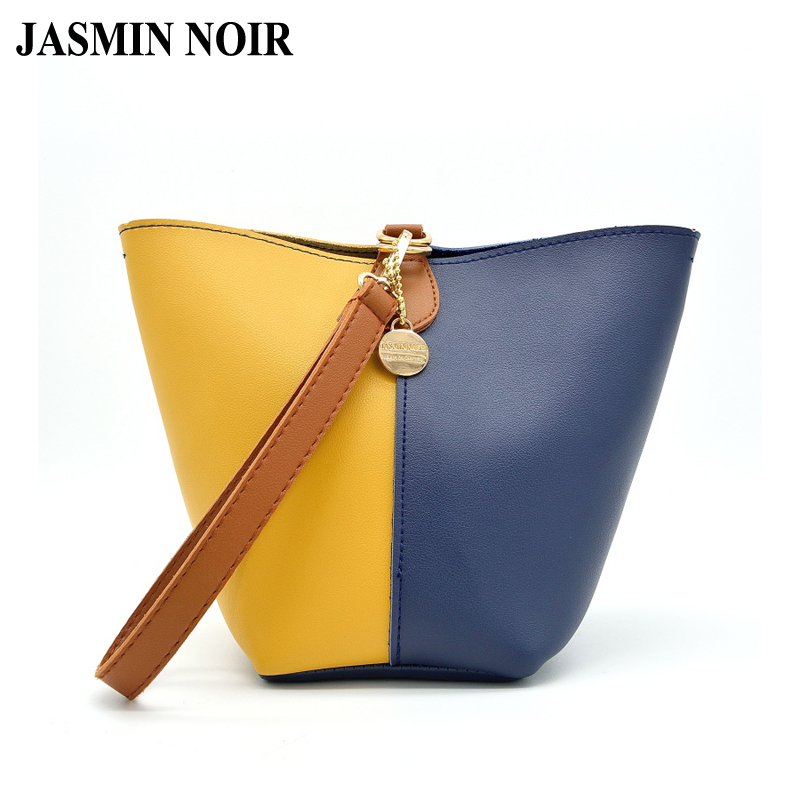 Fashion Design Women Pannelled Patchwork Small Bucket Handbags Lady Dual Functions Bucket Cross Body Bag Femle PU Shoulder Bags