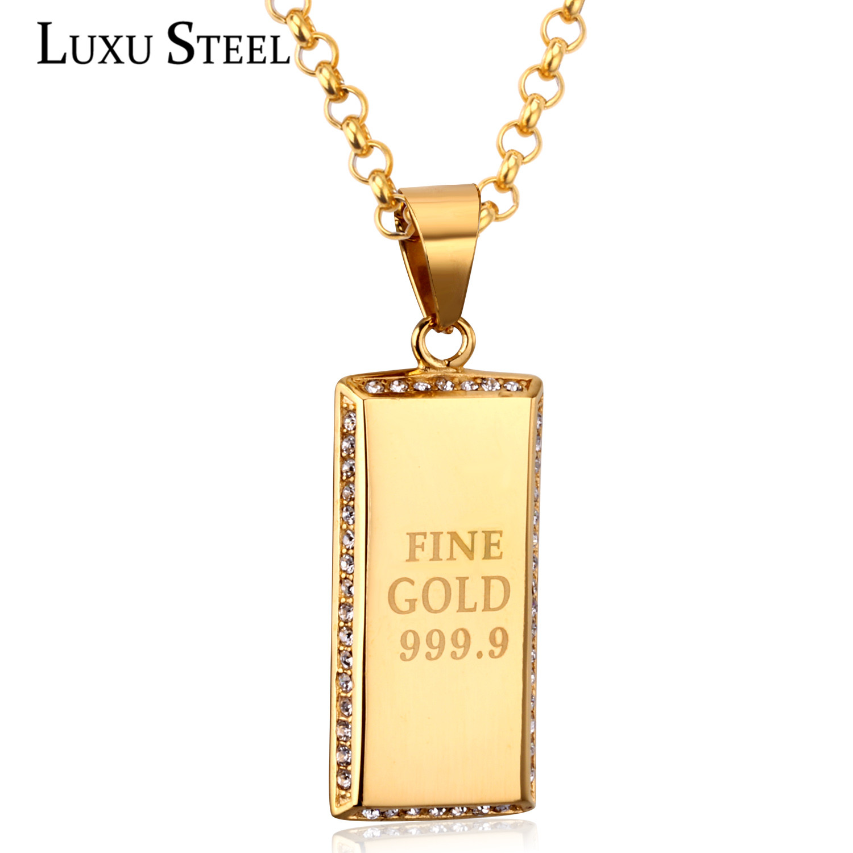 Luxsteel Style à la mode plus récent en acier inoxydable géométrie forme carrée pendentif collier strass chaîne colliers pour femmes/hommes