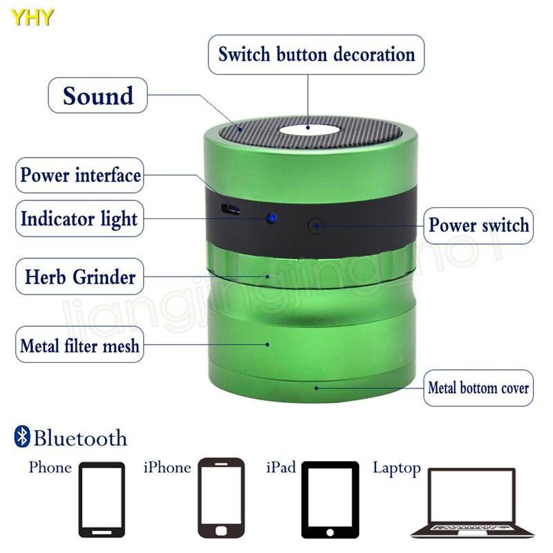 Bluetooth Grinders 62mm metal herb grinder for tobacco grinder speaker 2 in 1 creative smoking grinders Accessories GGA99505