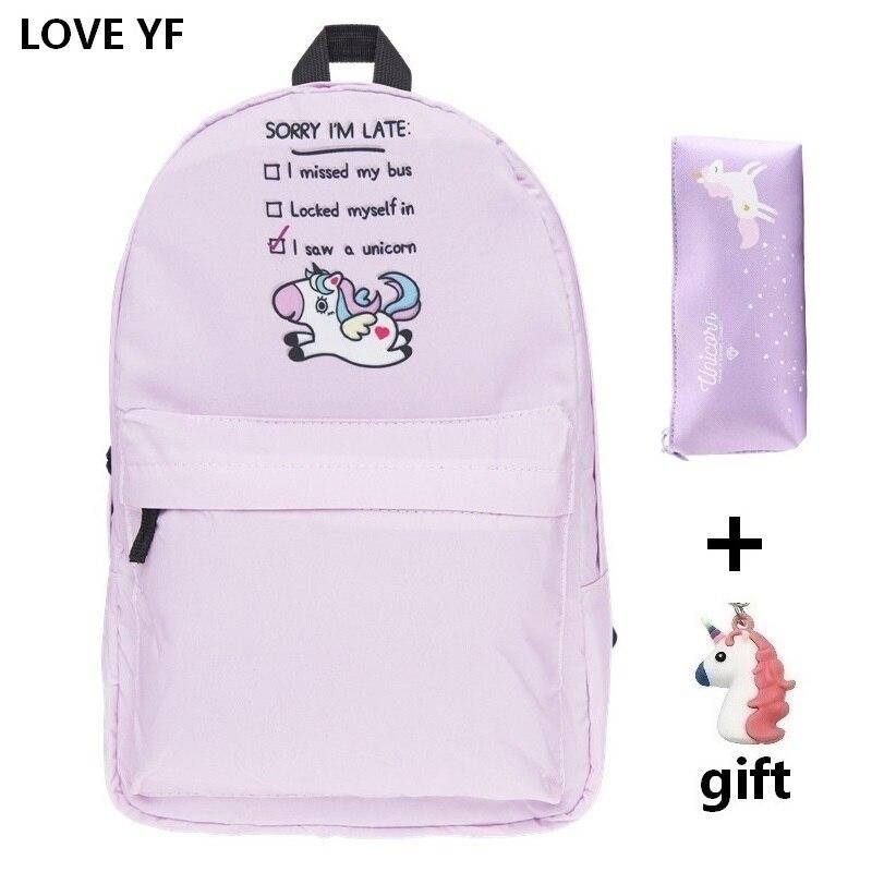 Padrão unicórnio conjunto rosa mochila mochila de nylon das Mulheres saco de escola de moda mochila escolar escola tas meisjes