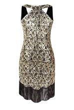Paisley Pattern 1920s Sequin Gold Tassel Dress