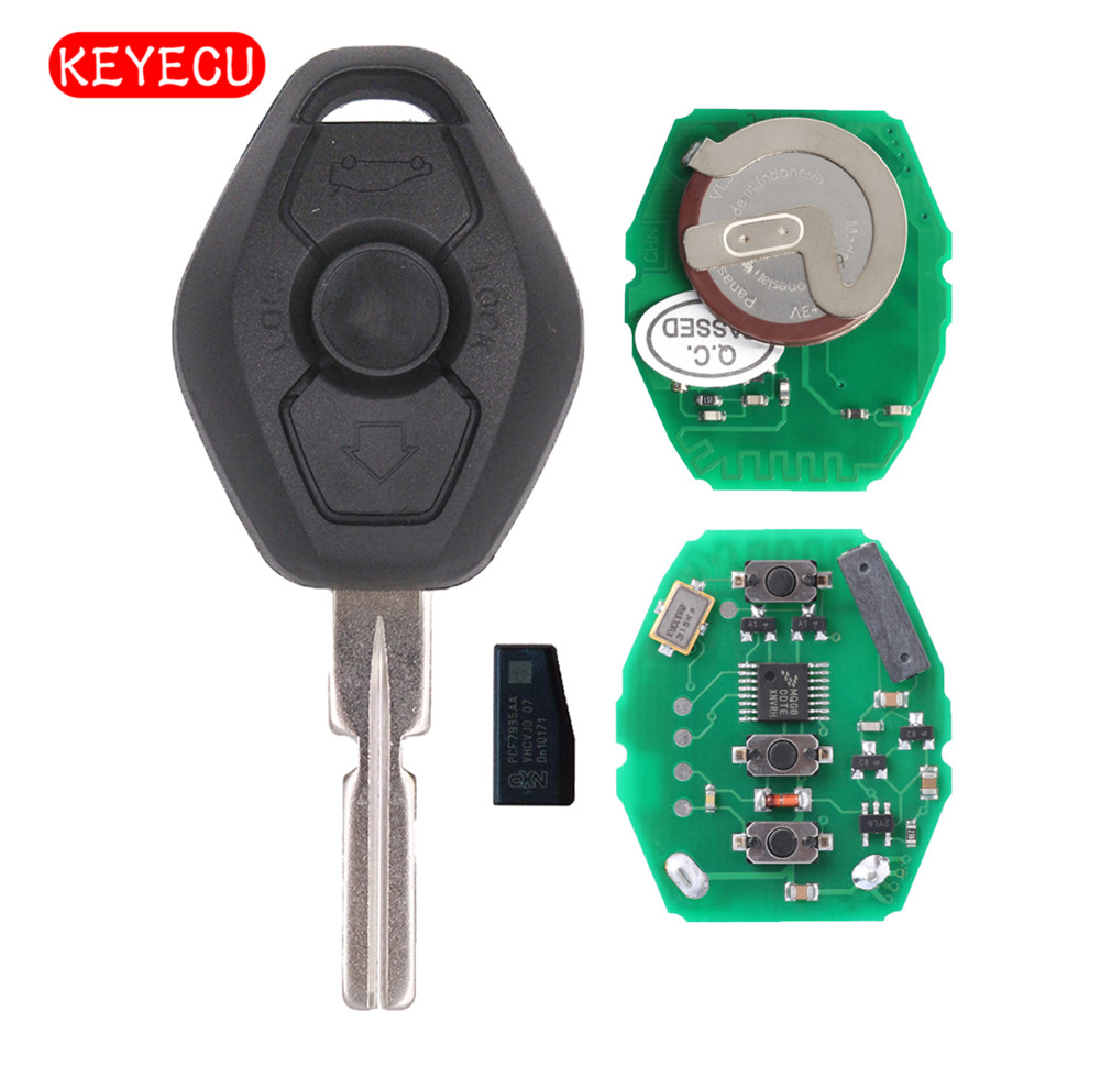 Keyecu recargable EWS dominante alejada 3 botón 433 MHz con Chip ID44 para BMW Serie 3 5 X con Uncut HU58 hoja