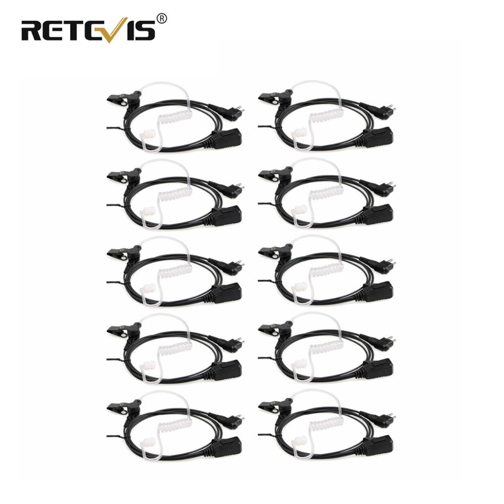 10pcs Wholesale Retevis EA090M Dual-line PTT Mic Air Tube Acoustic Earpiece Headset For Motorola 2Pin Walkie Talkies Radio C9064