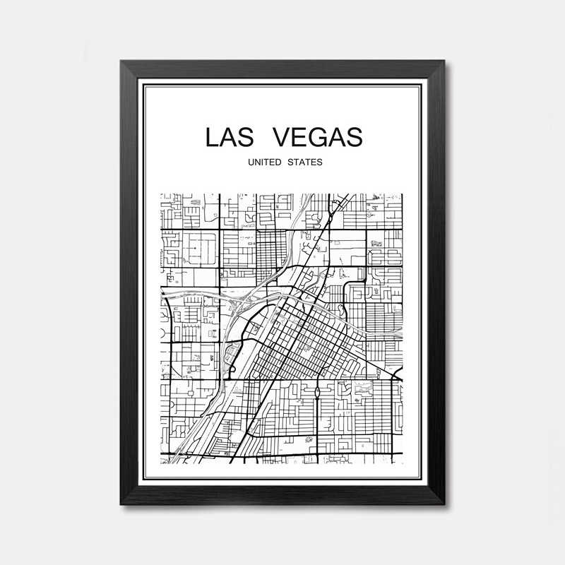 Witte Wereld Stad Kaart van NEW YORK Aangepaste Poster Decor Bar Pub Cafe Slaapkamer Retro Print Schilderij Muur Sticker 42x30 cm