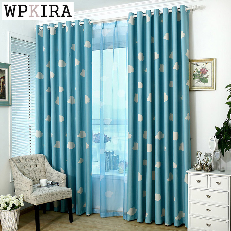 US $4.59 32% OFF Cotton and polyester fresh clouds cartoon curtain for kid  bedroom free shipping 125&30-in Curtains from Home & Garden on ...