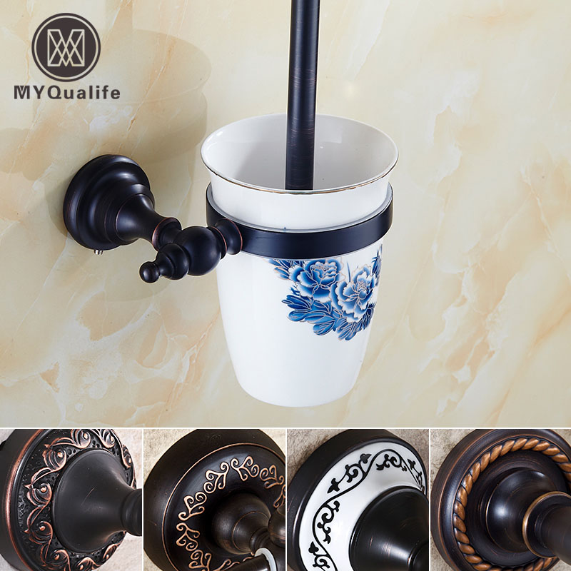 European Antique Toilet Cup Holder Wall Mounted Toilet Brush Holder /rack Oil Rubbed Bronze 4-style free postage oil rubbed bronze tooth brush holder double ceramic cups holder