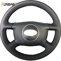 KUNBABY Car Styling Black Leather Car Steering Wheel Cover for Audi A6 2000 2004 Audi A3 2000 2003 A4 B6 2002 Car Accessories
