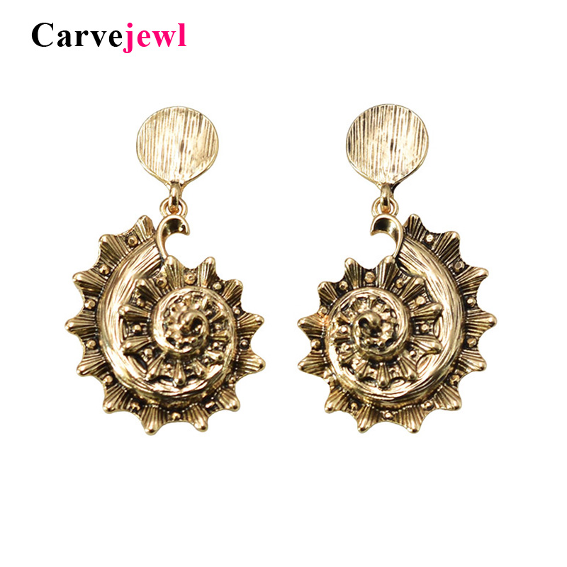 Carvejewl New Unique Anti. Gold Plating Conch Pendant Drop Earrings For Women Jewelry American European Bohemia Dangle Earrings
