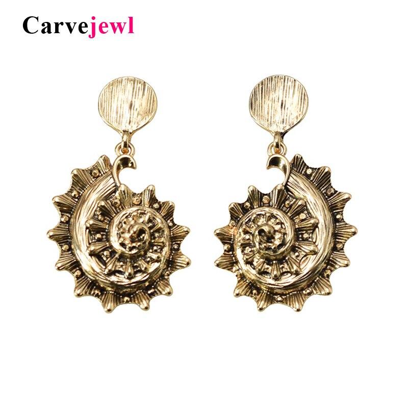 Carvejewl New Unique Anti. Gold Plating Conch Pendant Drop Earrings For Women Jewelry American European Bohemia Dangle Earrings