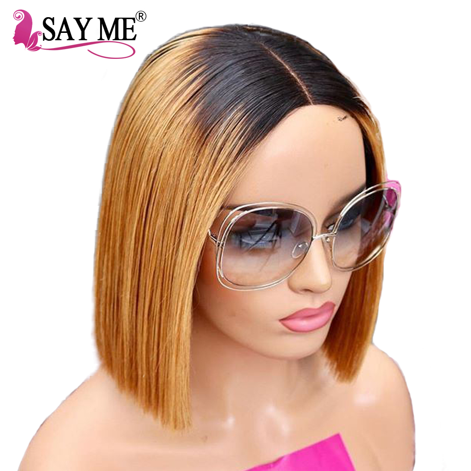 Silky Straight Lace Front Wig Pre Plucked Lace Front Human Hair Wigs Ombre Short Bob Lace
