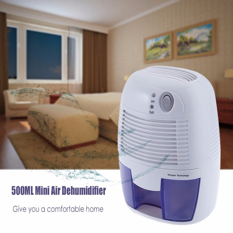 New Mini Air Dehumidifier Moisture Absorber with 500ML Water Tank Portable Dehumidifier for Home Bedroom Kitchen Quiet Air Dryer
