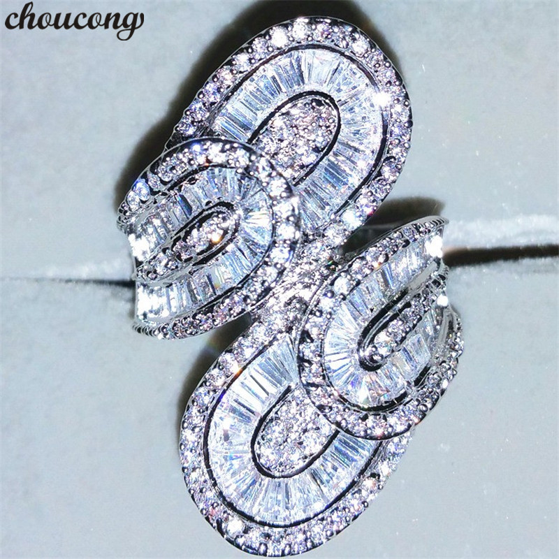 Choucong De Luxe Cour Anneau 10ct 5A Zircon Cz 925 Sterling argent Engagement Wedding Band Anneaux pour femmes hommes Gros Doigt bijoux