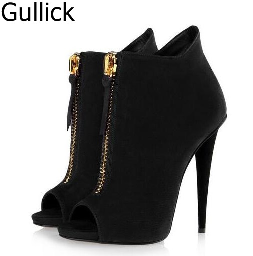 Sexy Women Dress Ankle Sandal Boots Spring Peep Toe Zip Solid Black Purple Spike High Heels Match Shoes Free Ship Zapatos Mujer ...