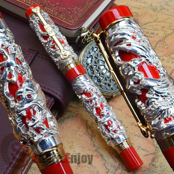 JINHAO NOBLEST DRAGON AND PHOENIX RED AND SILVER 18KGP FINE NIB FOUNTAIN PEN parker 88 maroon lacquer gt fine point fountain pen