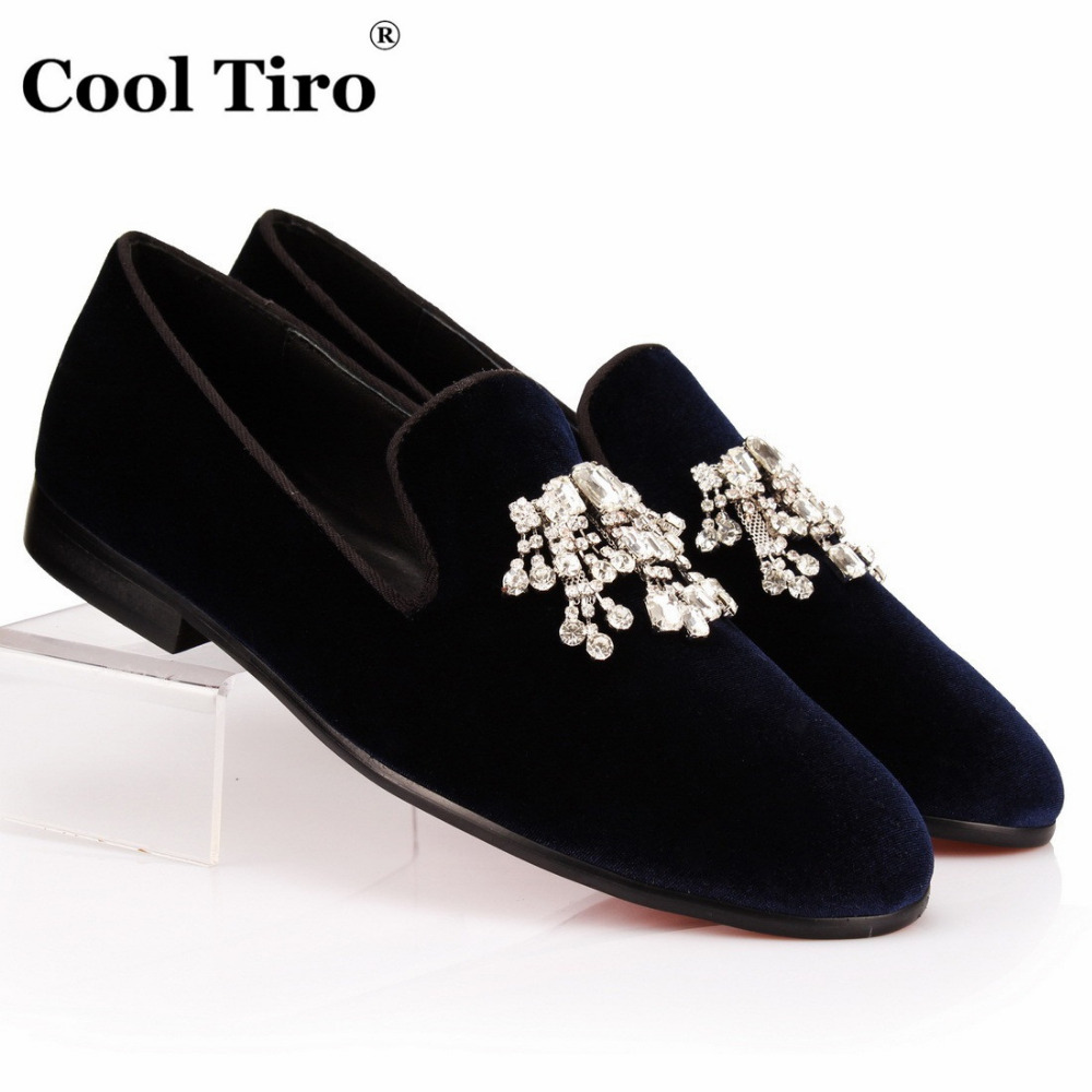 COOL TIRO White Crystals Tassel Men Loafers Blue Velvet Slippers Smoking Slip on Shoes Wedding Dress