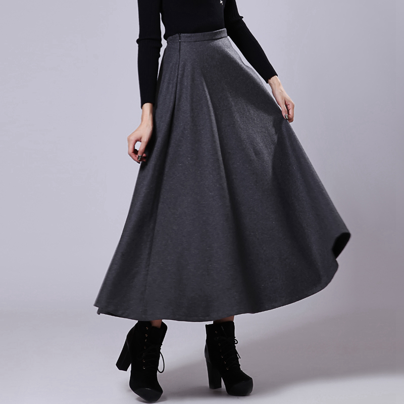 Ladies red pleated long skirts autumn winter woolen a line high ...