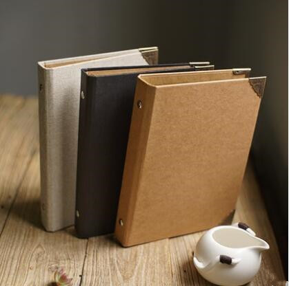 a5 black kraft linen cover loose leaf small album hand thick paper